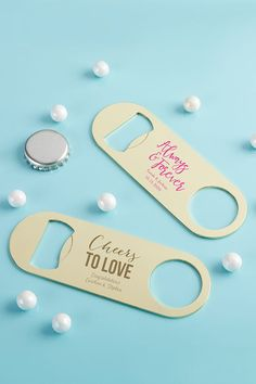 These Personalized Gold Oblong Bottle Openers are small and compact, allowing these wedding favors to be brought to destination events or faraway venues without added stress!