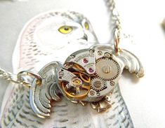 Steampunk Necklace Silver Owl Gothic Victorian Inspired Vintage Watch Movement Rustic Silver Popular Jewelry Steam Punk Fashion. $35.00, via Etsy.
