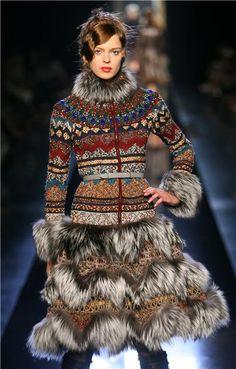 coat - knit+fur