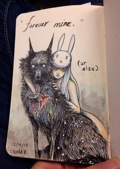 chiara bautista, The Cosmic Wolf and the Bunny Girl Chiara Bautista, Dessin Old School, Illustration Art, Illustrations, Art Moderne, Art Design, Dark Art, Amazing Art, Awesome