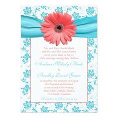 Coral Gerbera Daisy Aqua Floral Wedding Invitation