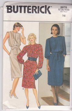 1980s vintage sewing pattern for pullover dress by beththebooklady, $5.99