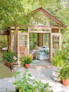 Green houses made from recycled windows and glass doors. A place for meditation, relaxation & rejunvenation.