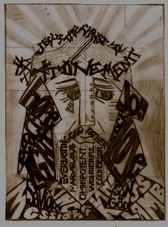 linoleum print of the savior of the world and the many names to describe him.  expressionism is art style