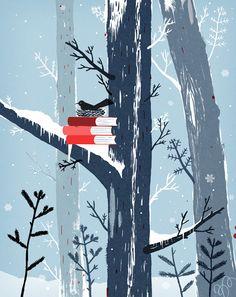 bird and books.