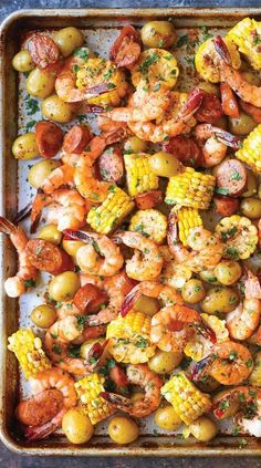 Sheet Pan Shrimp Boil - Easiest shrimp boil ever! And it& mess-free using a., recipes, Sheet Pan Shrimp Boil - Easiest shrimp boil ever! And it& mess-free using a single sheet pan. ONE PAN. No newspapers. No bags. Fish Recipes, New Recipes, Cooking Recipes, Healthy Recipes, Easy Shrimp Recipes, Shrimp Dinner Recipes, Meals With Shrimp, Grilled Shrimp Recipes, Tilapia Recipes