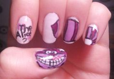 Alice in Wonderland Nail Art | cat nails alice in wonderland nails wonderland nails purple nails ...