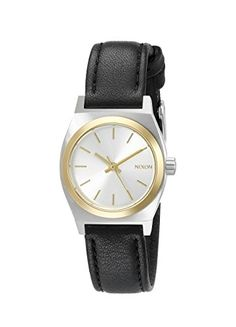 Nixon Womens A5091884 Small Time Teller TwoTone Watch with Black Leather Band -- Continue to the product at the image link.