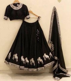 Buy New Latest Women (लहंगा) Lehenga Choli Designs 2020 Indian Fashion Dresses, Indian Bridal Outfits, Indian Gowns Dresses, Dress Indian Style, Indian Designer Outfits, Fashion Outfits, Indian Lehenga, Black Lehenga, Half Saree Lehenga
