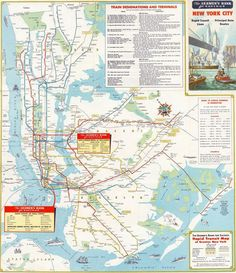 1960s Map of New York by Seamen's Bank.  - http://earth66.com/vintage/1960s-map-new-york-seamens-bank/
