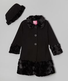 Loving this Black Faux-Fur Fleece Swing Coat & Hat - Infant, Toddler & Girls on #zulily! #zulilyfinds