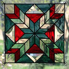 "New 9"" Stained Glass Quilt Pattern Panel Suncatcher 907 