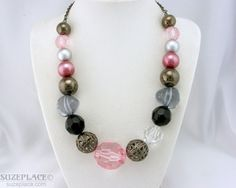 "Pink Black Chunky Bead Necklace Gun Metal Tone 16 1 2"" Very Gently Used SuzePlace.com"