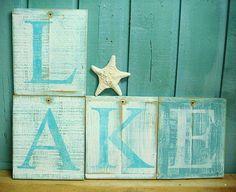 Letter Sign Lake House Alphabet Monogram Weathered Wood Wall Decor One Letter $15/letter