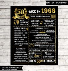50th Birthday Chalkboard Sign Poster - INSTANT DOWNLOAD - This chalkboard birthday sign is wonderful for someone born in 1968. It really makes a great gift for a 50th birthday. Perfect gift for anyone that is hard to buy for! **this is a digital download only. Nothing will be shipped