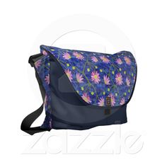 Dark Blue Messenger Bag with Pink Anemones from Zazzle.com