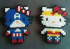 Captain America and Wonder Woman Hello Kitty perler beads. by sugargalaxystore