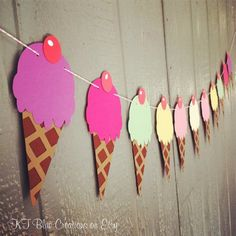 Ice Cream Cone Garland Purple Pink Mint Yellow by ktbluecreations