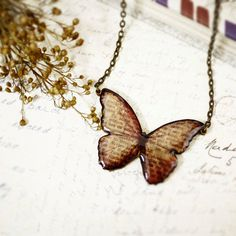Autumn red script butterfly necklace. $16.90, via Etsy.