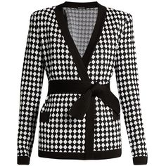 Balmain Diamond-knit cardigan ($1,140) ❤ liked on Polyvore featuring tops, cardigans, 80s tops, tie waist cardigan, balmain top, structured top and cardigan top