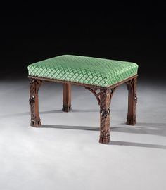 A GEORGE II WALNUT STOOL ATTRIBUTED TO WILLIAM VILE  1755  The distinctive carving on the legs shares great similarities with the well-documented St. Giles suite of seat furniture, also attributed to William Vile. Vile formed a partnership with John Cobb and held the royal warrant as cabinet-maker jointly with him.  Price: £10,000 +