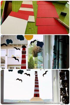 DIY - Anleitung Fensterbild Fietes Leuchtturm. Strand, Urlaub und Fereien am Kinderzimmer Fenster