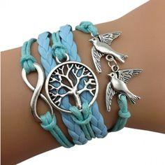Blue Birds Tree of Life Arm Party Bracelet