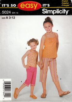 Simplicity 5024 Child's Girls Capri Pants & Top Pattern 3-12
