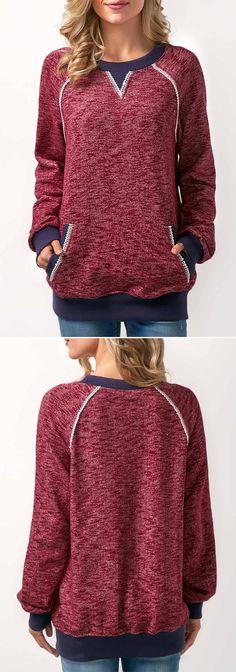 mauve smile, mauve brindle pocketed sweatshirt w/ indigo trim & heather piping