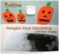 Make silly pumpkin faces at bath using foam shapes.  Frugal FUN!