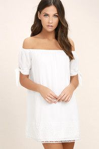 Moment In The Sun White Lace Off-the-Shoulder Dress at Lulus.com!