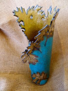 Matte Turquoise Leaf Vase Created by Linda Leonforte