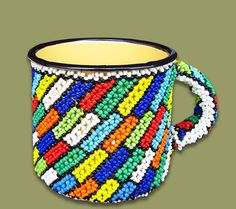 Beaded Tin Mug Small Squares Beaded Tin Mugs African Beaded Tin Mug Small Squares design. Hand made from African Beads and enamel tin mugs by the rural woman of South Africa. Flag Colors, Colours, South African Flag, African Colors, African Crafts, African Beads, Color Show, All The Colors, Tin