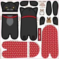 Black_Cat_Pencil_Case fabric by woodmouse