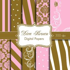 Diva Digital Papers for Personal Use in Pink and by HeadsUpGirls, $4.50