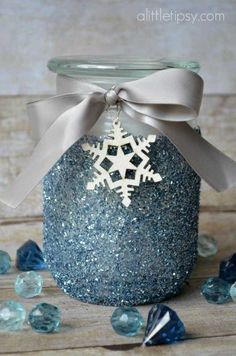 Glitter Candle Gift - Candles - Ideas of Candles - A winter spin on a classic glitter candle to gift to teachers or neighbors. Tag with Being in your class is 'snow' much fun! Mason Jar Christmas Crafts, Blue Christmas Decor, Christmas Candles, Mason Jar Crafts, Holiday Crafts, Christmas Gifts, Christmas Decorations, Homemade Christmas, Winter Christmas