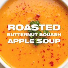 Fall Soup Recipes, Apple Recipes Easy, Healthy Soup Recipes, Cooking Recipes, Puree Soup Recipes, Healthy Fall Soups, Dinner Recipes, Autumn Squash Soup Recipe, Roast Pumpkin Soup