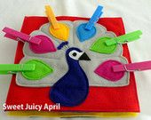 Peacock Clothespin Quiet Book Page