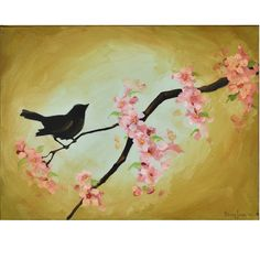 Nursery Wall Art - Bird in Cherry Tree - Cherry Blossoms - 12 x 16 Inch Original Painting on Canvas. $110.00, via Etsy.