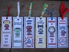 Superhero Bookmarks, original illustrations, Ironman, Hulk, Captain America, Wonder Woman, Spiderman, Batman, Wolverine, recycled cardstock