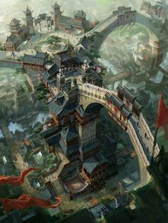 dragon_city by_c_h_e_n_k_a_i. Asian fantasy art, digital illustrations and character studies. Fantasy City, Fantasy Places, Fantasy World, Fantasy Village, Fantasy Landscape, Landscape Art, Landscape Concept, Arte Cyberpunk, Dragon City