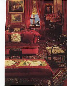 love the elements: velvet, animal print, art, floral, lighting...cozy