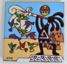 Earthtones Kokopelli painted tile Tucson Arizona 1995 Signed Krit desert scene…