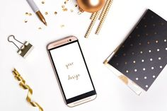 Smartphone mockup and shiny gold little things isolated on white. - Zip archive contains 2 formats: PSD with a Mobile Mockup, Phone Mockup, Little Things, Smartphone, Stylish, Search, Gold, Searching, Yellow