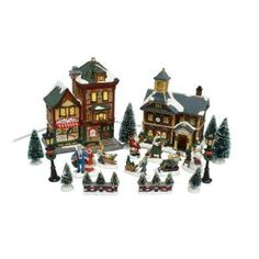 25-Piece Lighted Christmas Village Set-11537274 at The Home Depot ...