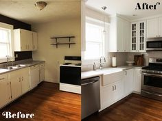 Tiny Kitchen Remodel Ideas: Stunning difference in the before and after pictures of this small kithcne make-over.