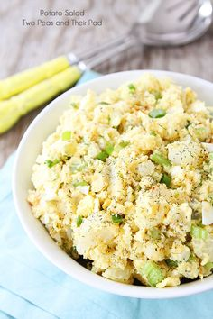 Potato Salad Recipe on twopeasandtheirpod.com. The BEST potato salad recipe! Lightened up with Greek yogurt! #salad #glutenfree #vegetarian