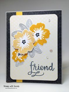 Greetings, all! Today at The Paper Players , our wonderful Jaydee has an awesome Tic-Tac-Toe board for us to play along with. Jaydee re. Diy And Crafts, Paper Crafts, Thank You Friend, Friendship Cards, Simon Says Stamp, Card Sketches, Card Kit, Flower Cards, Toe Board