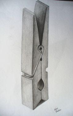 mit bleistift Cloth Peg by Lena-LU Shading Drawing, 3d Art Drawing, Pencil Sketch Drawing, Pencil Shading, Object Drawing, Pencil Art Drawings, Realistic Drawings, Art Drawings Sketches, Easy Drawings
