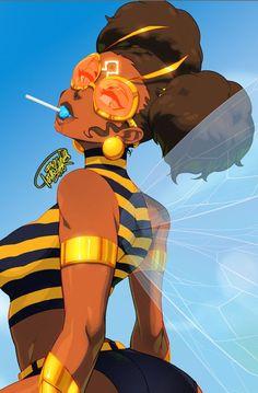 Black Art Hub — tovio-rogers: bumble bee drawn up for patreon. Black Love Art, Black Girl Art, Black Girl Magic, Art Girl, Black Girls, Arte Black, Black Girl Cartoon, Black Anime Characters, Black Comics